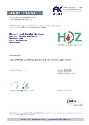 Zertifikat DIN EN ISO 9001 2015